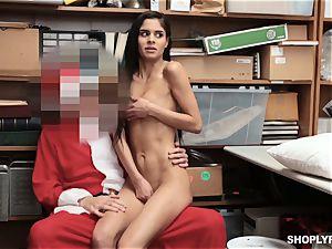 Katya Rodriguez rides on security santas meatpipe