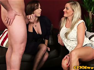 Cfnm hotty Charlie Holays fellating man meat