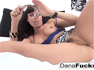 porn industry star Dana spreads her rosy pucker with a immense lovemaking plaything