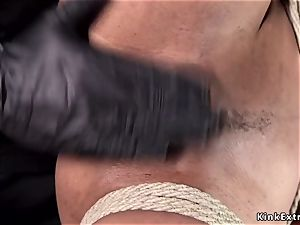 dark-hued gimp fisted and made squirting