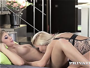 Private.com - lesbos Haley Hill and virgin smooch
