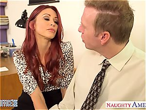 ginger-haired stunner Monique Alexander tear up in office