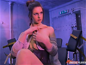 Stella Cox puss beaten by a space agent