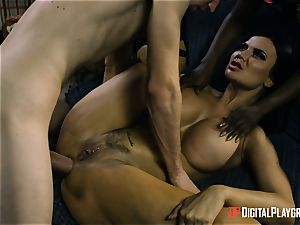 Jasmine Webb and Jasmine Jae get their throat around monster wood