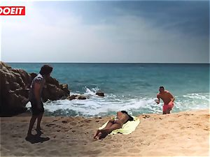 LETSDOEIT - steaming dark-hued teenager pounded hard At The Beach