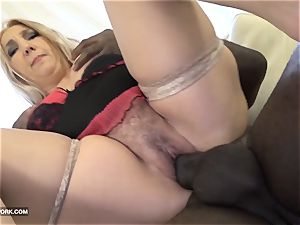 lush furry milf plumper ravaged by dark-hued boy in hardcore