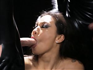 Asa Akira gets mass ejaculation from trio rubber dressed folks