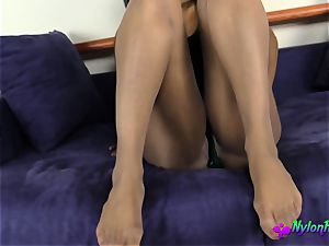 Janelle Poses in sexy Nylon pantyhose