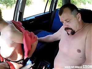 Mirek Takes Mature buxomy fuckslut on Public