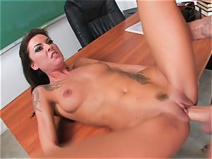 smooth pussy Chayse Evans gets plowed by phat stiff wood