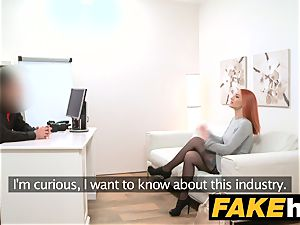 faux Agent redhead chooses firm shaft over moist labia