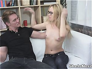 dark haired greets his gigantic swelling in her fleshy labia