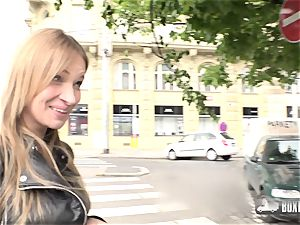 marvelous tatted Angel Piaff rubdown in Public