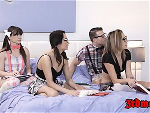 Nerdy vamp Alison Ray coochie smashed in nubile orgy