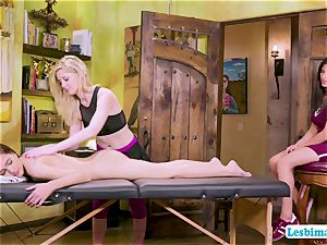 massage turns into molten 3some fuck-fest with red-hot college honeys
