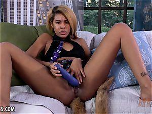 black babe showcases off her fresh backside ass-plug