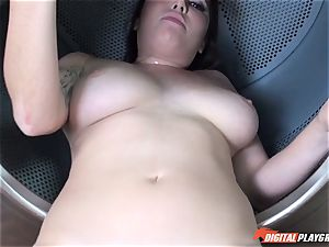 Karlee Grey deep throats and gets nailed in the washing machine