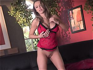 Jenna Presley takes it off slowly to showcase off her large boobies and smoking figure
