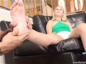 Goldie enjoys a Finger in Her caboose and providing Footjobs